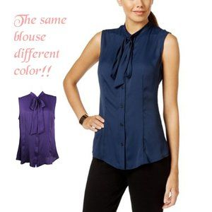 Anne Klein Tie-Neck Button Down Blouse